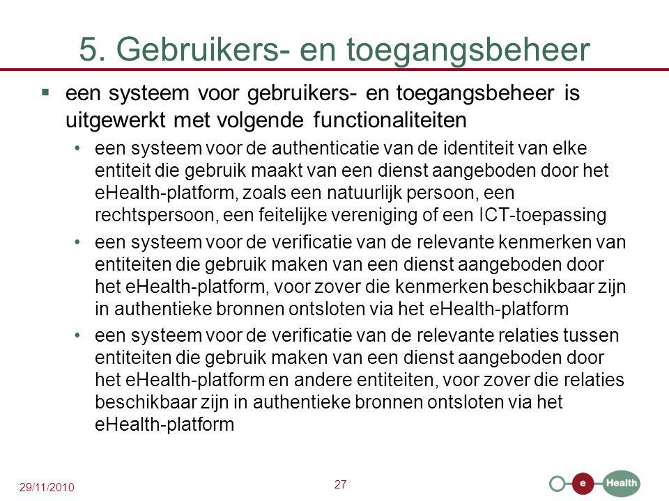 27 29/11/2010 5. Gebruikers- en toegangsbeheer  een systeem voor gebruikers- en toegangsbeheer is uitgewerkt met volgende functionaliteiten een syste