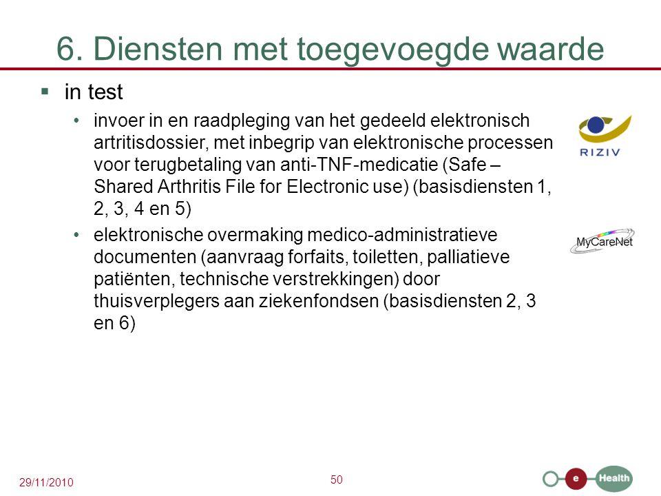 50 29/11/2010 6. Diensten met toegevoegde waarde  in test invoer in en raadpleging van het gedeeld elektronisch artritisdossier, met inbegrip van ele