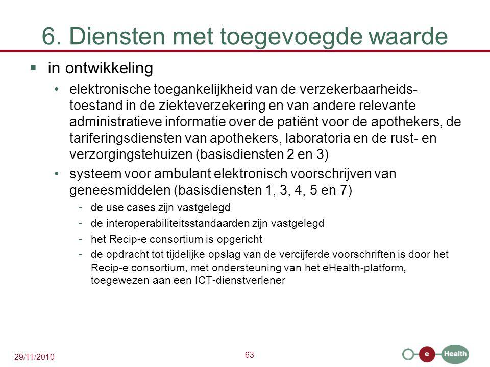 63 29/11/2010 6. Diensten met toegevoegde waarde  in ontwikkeling elektronische toegankelijkheid van de verzekerbaarheids- toestand in de ziekteverze