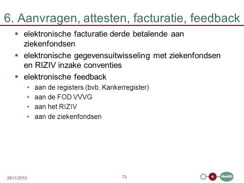 73 29/11/2010 6. Aanvragen, attesten, facturatie, feedback  elektronische facturatie derde betalende aan ziekenfondsen  elektronische gegevensuitwis