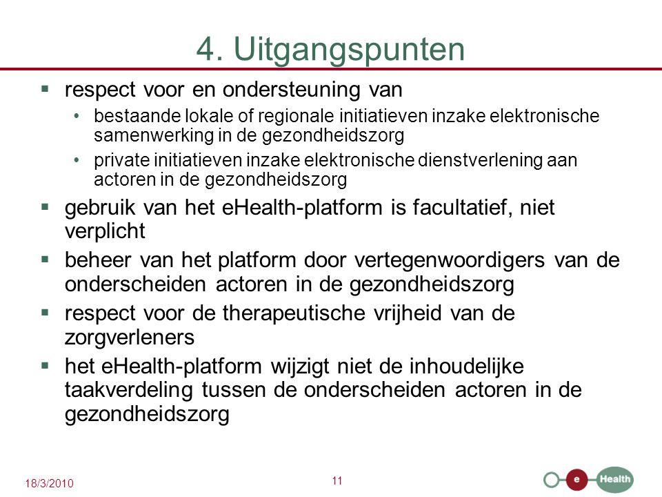 11 18/3/2010 4. Uitgangspunten  respect voor en ondersteuning van bestaande lokale of regionale initiatieven inzake elektronische samenwerking in de