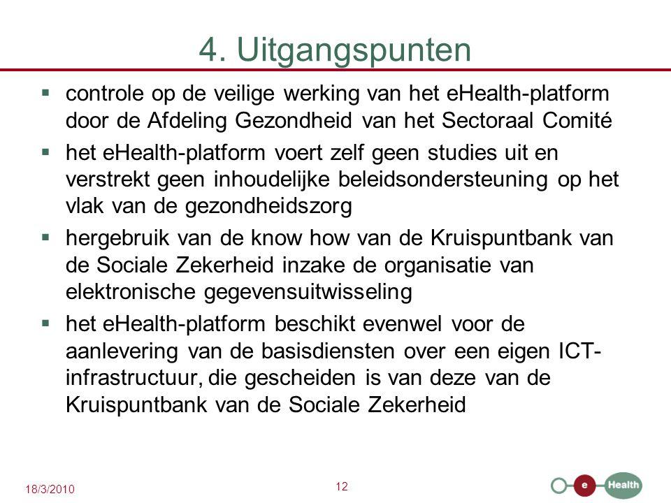 12 18/3/2010 4. Uitgangspunten  controle op de veilige werking van het eHealth-platform door de Afdeling Gezondheid van het Sectoraal Comité  het eH