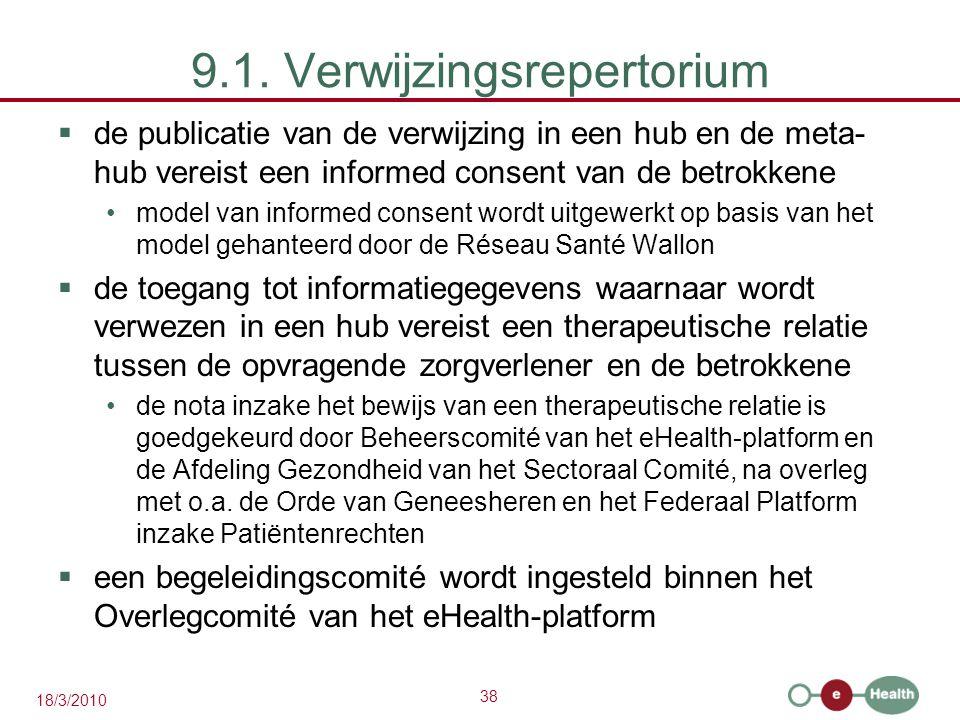38 18/3/2010 9.1. Verwijzingsrepertorium  de publicatie van de verwijzing in een hub en de meta- hub vereist een informed consent van de betrokkene m