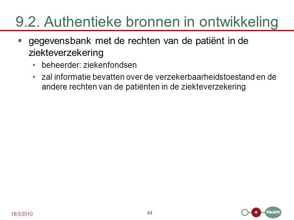 44 18/3/2010 9.2. Authentieke bronnen in ontwikkeling  gegevensbank met de rechten van de patiënt in de ziekteverzekering beheerder: ziekenfondsen za