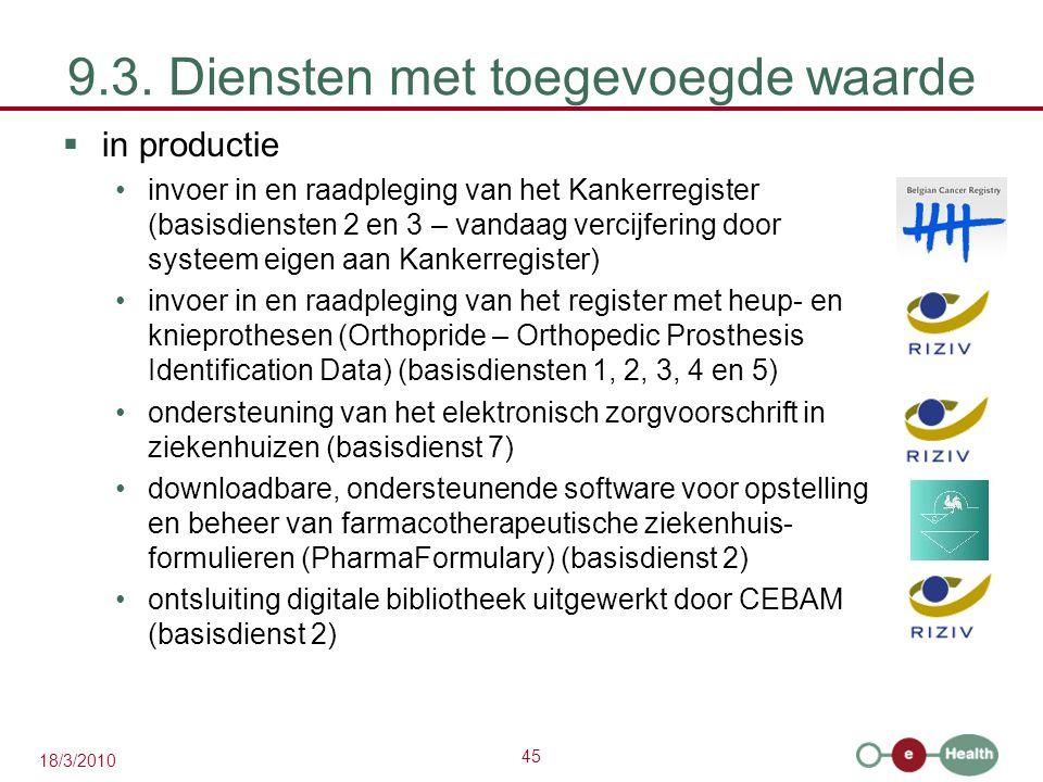 45 18/3/2010 9.3. Diensten met toegevoegde waarde  in productie invoer in en raadpleging van het Kankerregister (basisdiensten 2 en 3 – vandaag verci