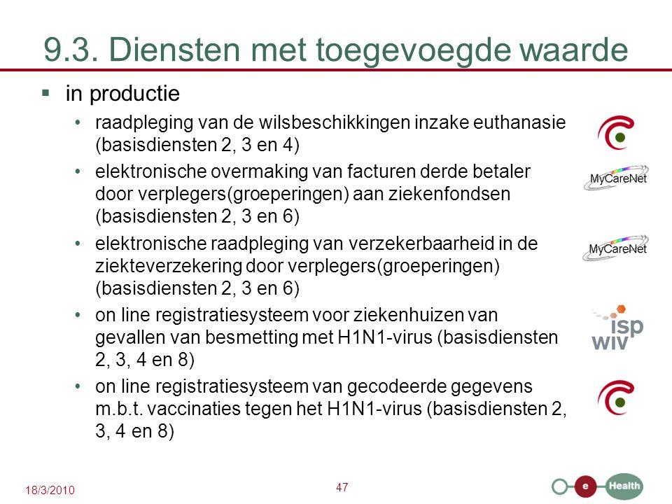 47 18/3/2010 9.3. Diensten met toegevoegde waarde  in productie raadpleging van de wilsbeschikkingen inzake euthanasie (basisdiensten 2, 3 en 4) elek