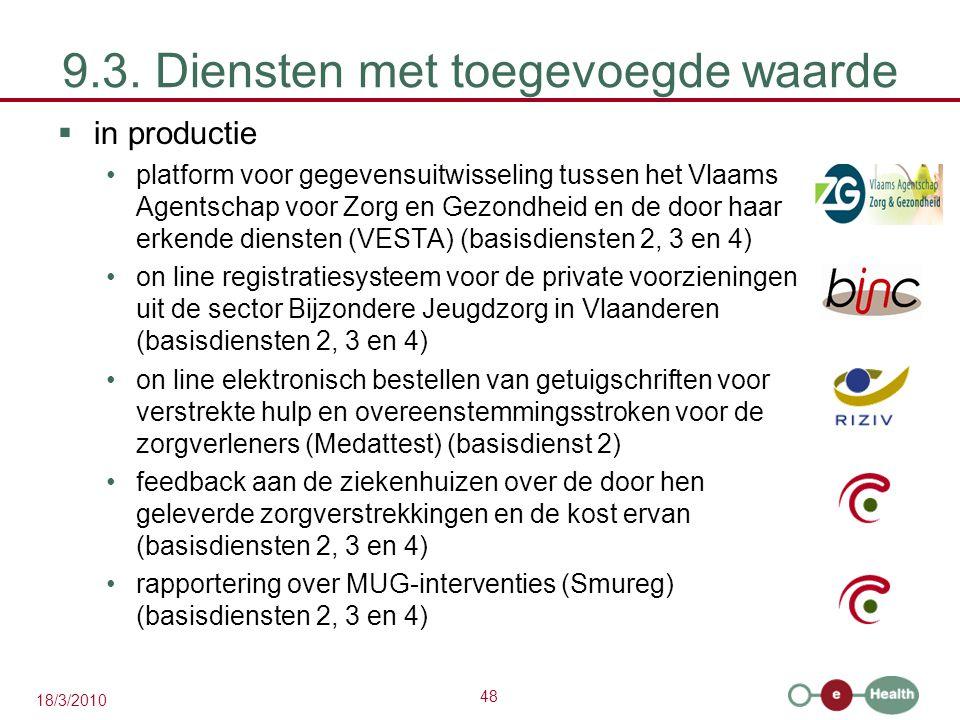 48 18/3/2010 9.3. Diensten met toegevoegde waarde  in productie platform voor gegevensuitwisseling tussen het Vlaams Agentschap voor Zorg en Gezondhe