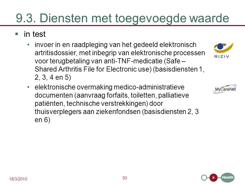 50 18/3/2010 9.3. Diensten met toegevoegde waarde  in test invoer in en raadpleging van het gedeeld elektronisch artritisdossier, met inbegrip van el