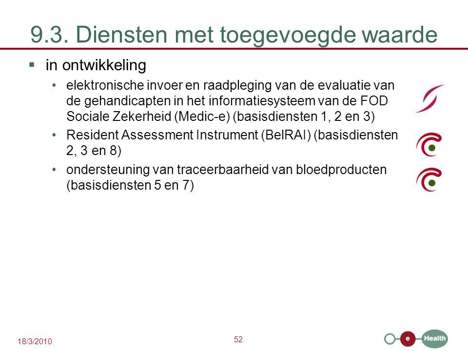 52 18/3/2010 9.3. Diensten met toegevoegde waarde  in ontwikkeling elektronische invoer en raadpleging van de evaluatie van de gehandicapten in het i