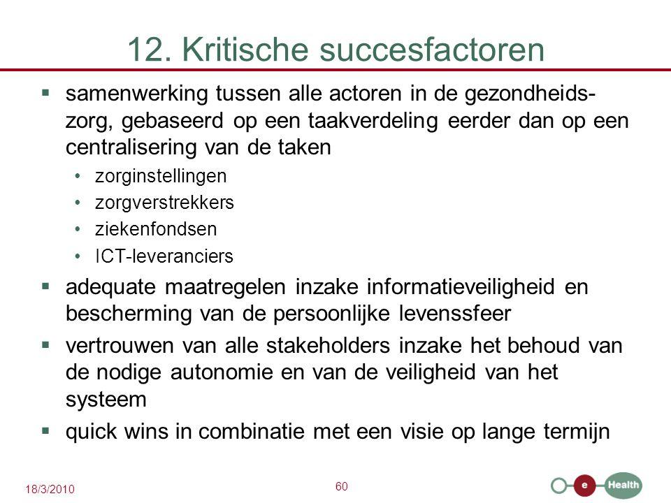 60 18/3/2010 12. Kritische succesfactoren  samenwerking tussen alle actoren in de gezondheids- zorg, gebaseerd op een taakverdeling eerder dan op een