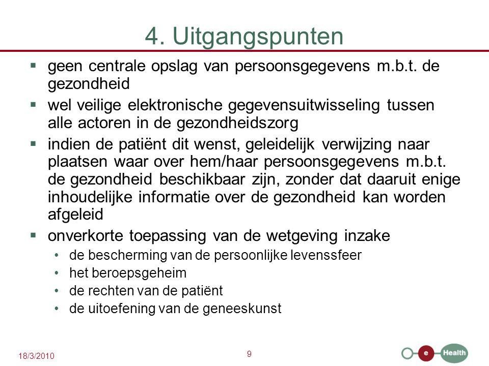 9 18/3/2010 4. Uitgangspunten  geen centrale opslag van persoonsgegevens m.b.t. de gezondheid  wel veilige elektronische gegevensuitwisseling tussen