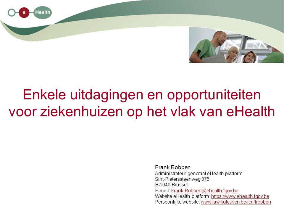 2 11/2/2010 Structuur van de uiteenzetting 1.enkele evoluties in de gezondheidszorg 2.ontstaansreden van het eHealth-platform 3.enkele uitdagingen en opportuniteiten voor ziekenhuizen 4.doel van het eHealth-platform 5.het eHealth-platform als organisatie 6.het Sectoraal Comité van de Sociale Zekerheid en van de Gezondheid 7.samenwerkingsplatform en standaarden 8.waarborgen bij het gebruik van het eHealth-platform 9.voordelen van het eHealth-platform voor de patiënten, de zorgverleners en de overheid 10.stand van zaken van het eHealth-platform 11.verdere prioriteiten 2009-2011 12.kritische succesfactoren