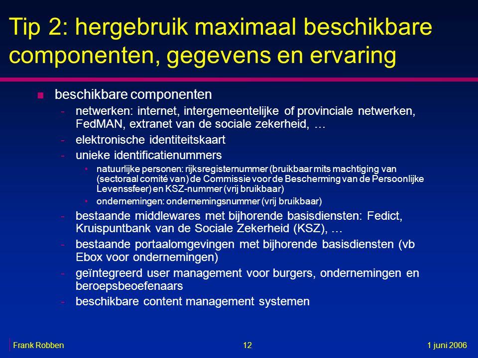 12Frank Robben1 juni 2006 Tip 2: hergebruik maximaal beschikbare componenten, gegevens en ervaring n beschikbare componenten -netwerken: internet, int