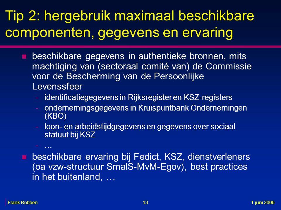 13Frank Robben1 juni 2006 Tip 2: hergebruik maximaal beschikbare componenten, gegevens en ervaring n beschikbare gegevens in authentieke bronnen, mits