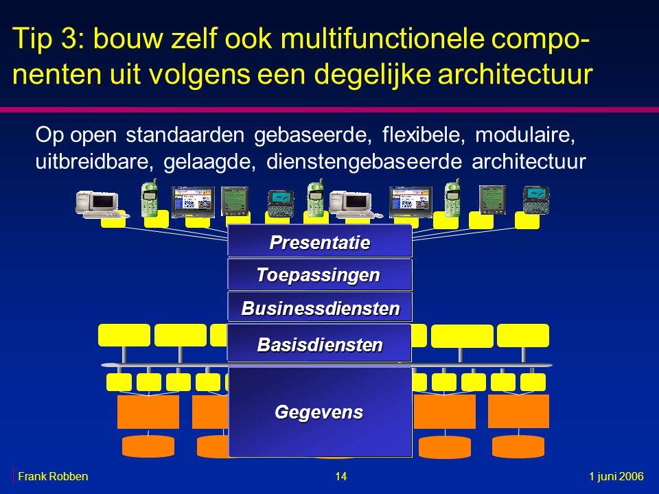 14Frank Robben1 juni 2006 Tip 3: bouw zelf ook multifunctionele compo- nenten uit volgens een degelijke architectuur Op open standaarden gebaseerde, f