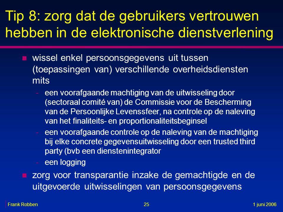 25Frank Robben1 juni 2006 Tip 8: zorg dat de gebruikers vertrouwen hebben in de elektronische dienstverlening n wissel enkel persoonsgegevens uit tuss