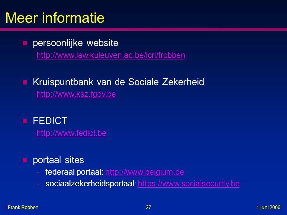 Meer informatie 27 n persoonlijke website http://www.law.kuleuven.ac.be/icri/frobben n Kruispuntbank van de Sociale Zekerheid http://www.ksz.fgov.be n
