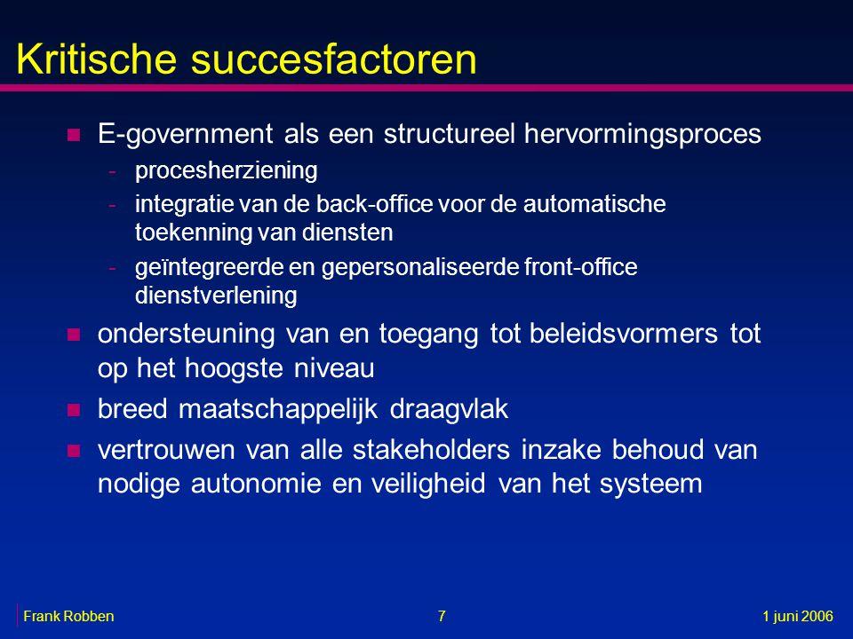Kritische succesfactoren n E-government als een structureel hervormingsproces -procesherziening -integratie van de back-office voor de automatische to