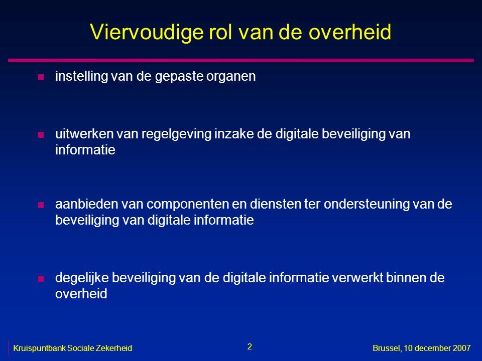 2 Brussel, 10 december 2007 Viervoudige rol van de overheid n instelling van de gepaste organen n uitwerken van regelgeving inzake de digitale beveiliging van informatie n aanbieden van componenten en diensten ter ondersteuning van de beveiliging van digitale informatie n degelijke beveiliging van de digitale informatie verwerkt binnen de overheid