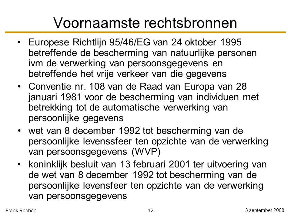 12 3 september 2008 Frank Robben Voornaamste rechtsbronnen Europese Richtlijn 95/46/EG van 24 oktober 1995 betreffende de bescherming van natuurlijke