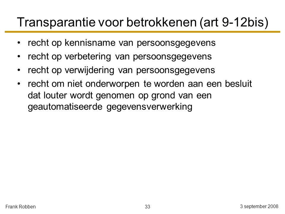 33 3 september 2008 Frank Robben Transparantie voor betrokkenen (art 9-12bis) recht op kennisname van persoonsgegevens recht op verbetering van persoo