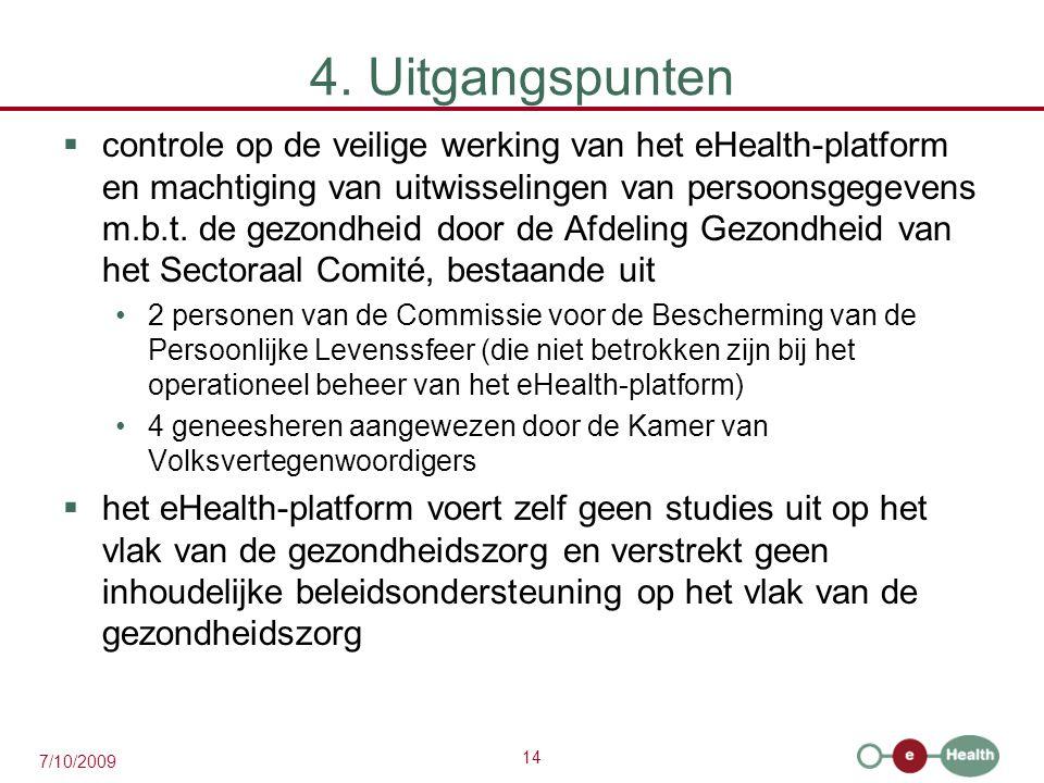 14 7/10/2009 4. Uitgangspunten  controle op de veilige werking van het eHealth-platform en machtiging van uitwisselingen van persoonsgegevens m.b.t.