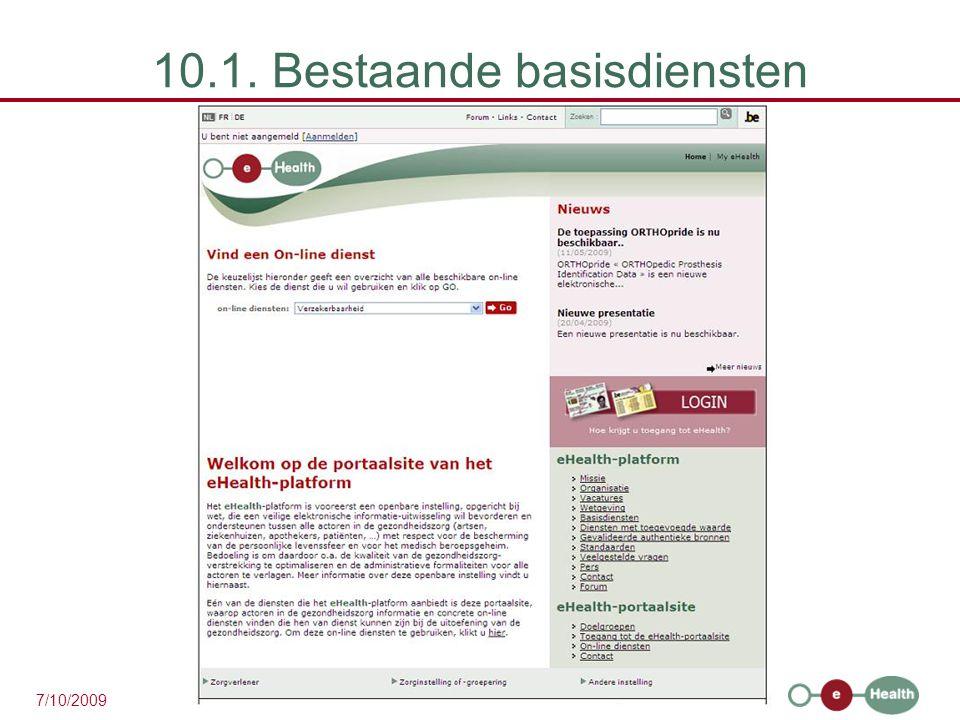 37 7/10/2009 10.1. Bestaande basisdiensten