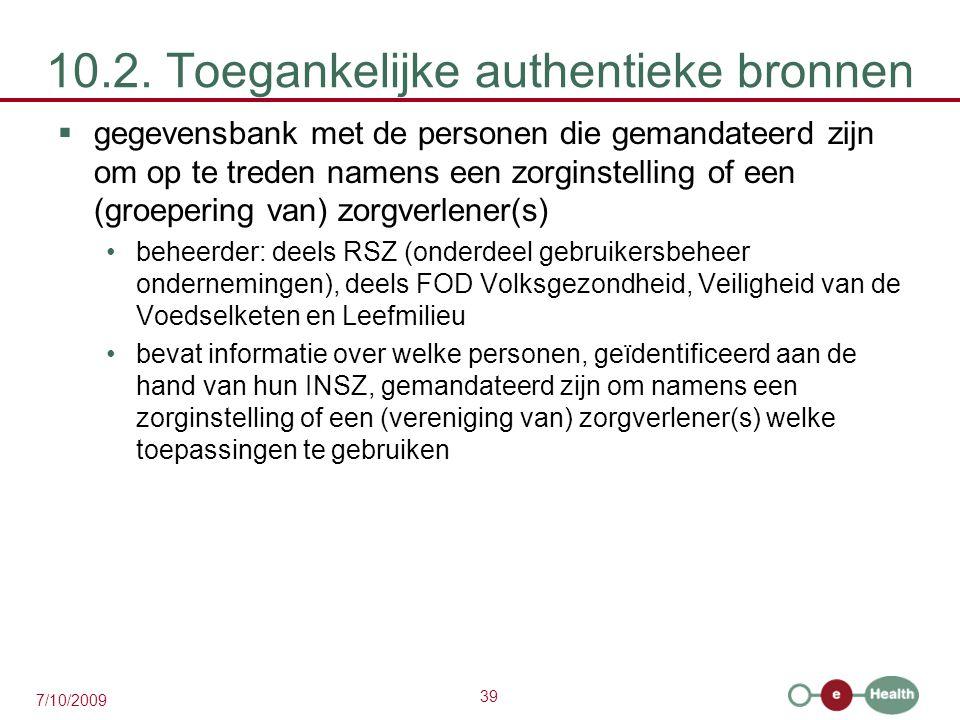 39 7/10/2009 10.2. Toegankelijke authentieke bronnen  gegevensbank met de personen die gemandateerd zijn om op te treden namens een zorginstelling of