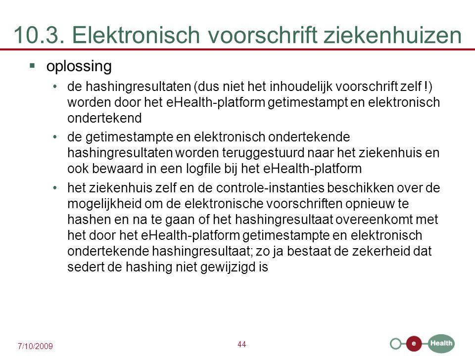 44 7/10/2009 10.3. Elektronisch voorschrift ziekenhuizen  oplossing de hashingresultaten (dus niet het inhoudelijk voorschrift zelf !) worden door he