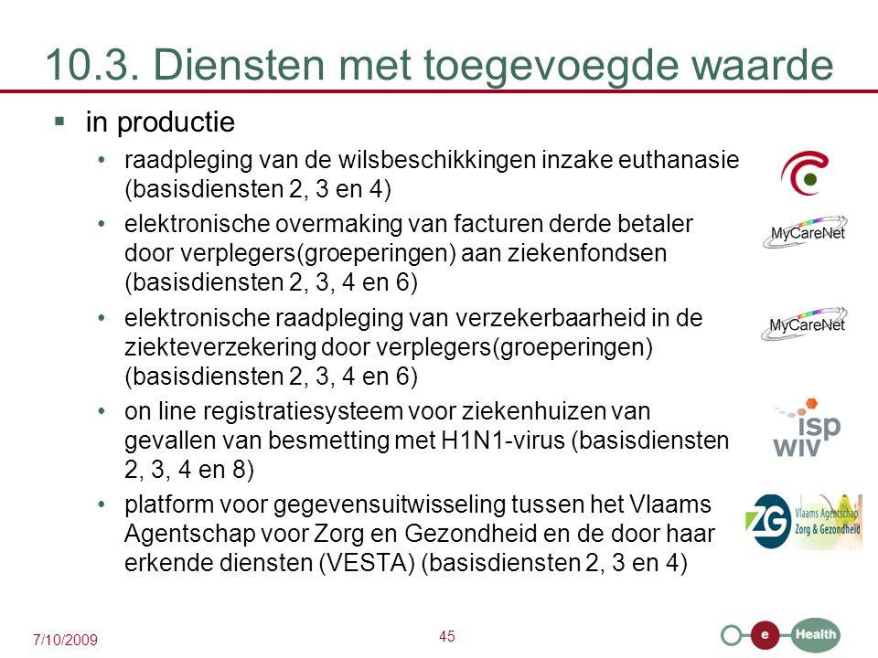45 7/10/2009 10.3. Diensten met toegevoegde waarde  in productie raadpleging van de wilsbeschikkingen inzake euthanasie (basisdiensten 2, 3 en 4) ele