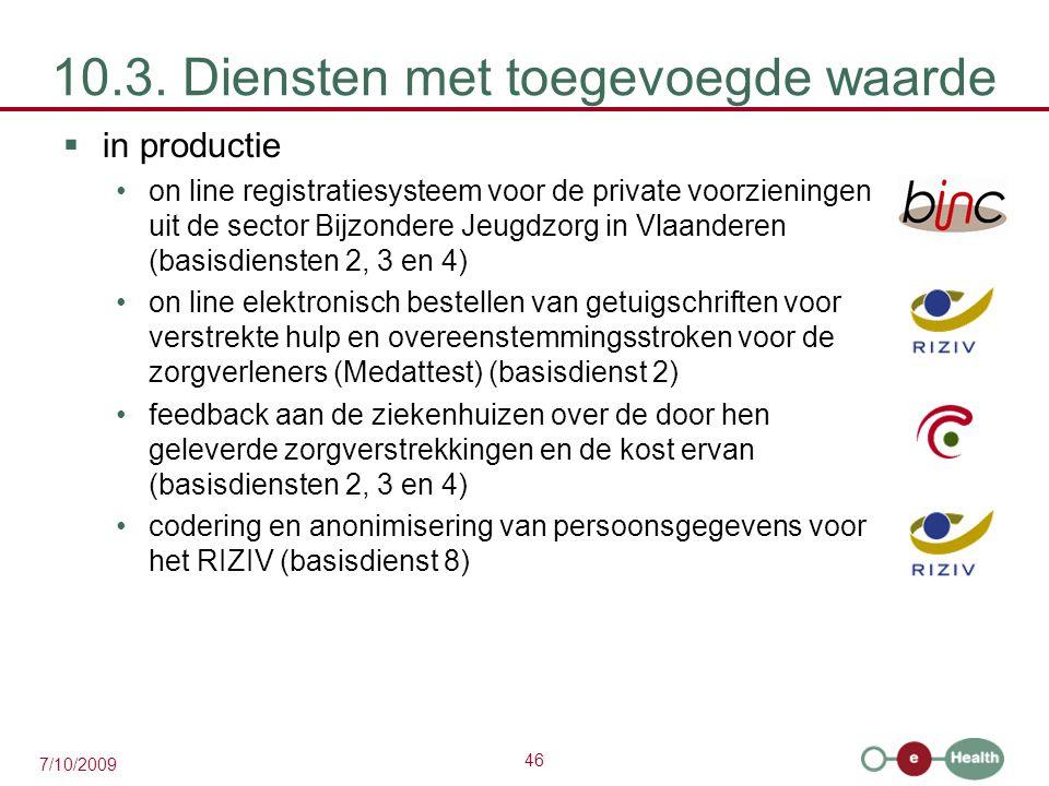 46 7/10/2009 10.3. Diensten met toegevoegde waarde  in productie on line registratiesysteem voor de private voorzieningen uit de sector Bijzondere Je