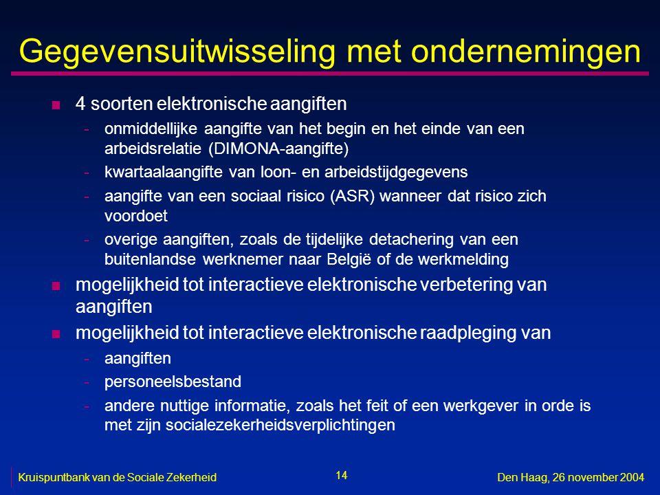 14 Kruispuntbank van de Sociale ZekerheidDen Haag, 26 november 2004 Gegevensuitwisseling met ondernemingen n 4 soorten elektronische aangiften -onmiddellijke aangifte van het begin en het einde van een arbeidsrelatie (DIMONA-aangifte) -kwartaalaangifte van loon- en arbeidstijdgegevens -aangifte van een sociaal risico (ASR) wanneer dat risico zich voordoet -overige aangiften, zoals de tijdelijke detachering van een buitenlandse werknemer naar België of de werkmelding n mogelijkheid tot interactieve elektronische verbetering van aangiften n mogelijkheid tot interactieve elektronische raadpleging van -aangiften -personeelsbestand -andere nuttige informatie, zoals het feit of een werkgever in orde is met zijn socialezekerheidsverplichtingen
