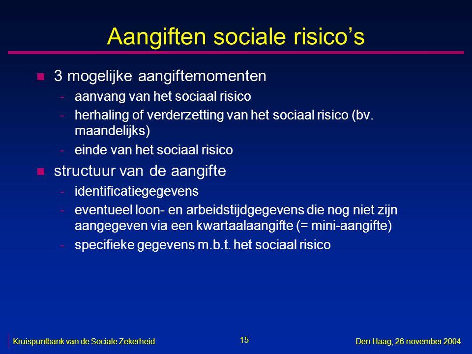 15 Kruispuntbank van de Sociale ZekerheidDen Haag, 26 november 2004 Aangiften sociale risico's n 3 mogelijke aangiftemomenten -aanvang van het sociaal risico -herhaling of verderzetting van het sociaal risico (bv.