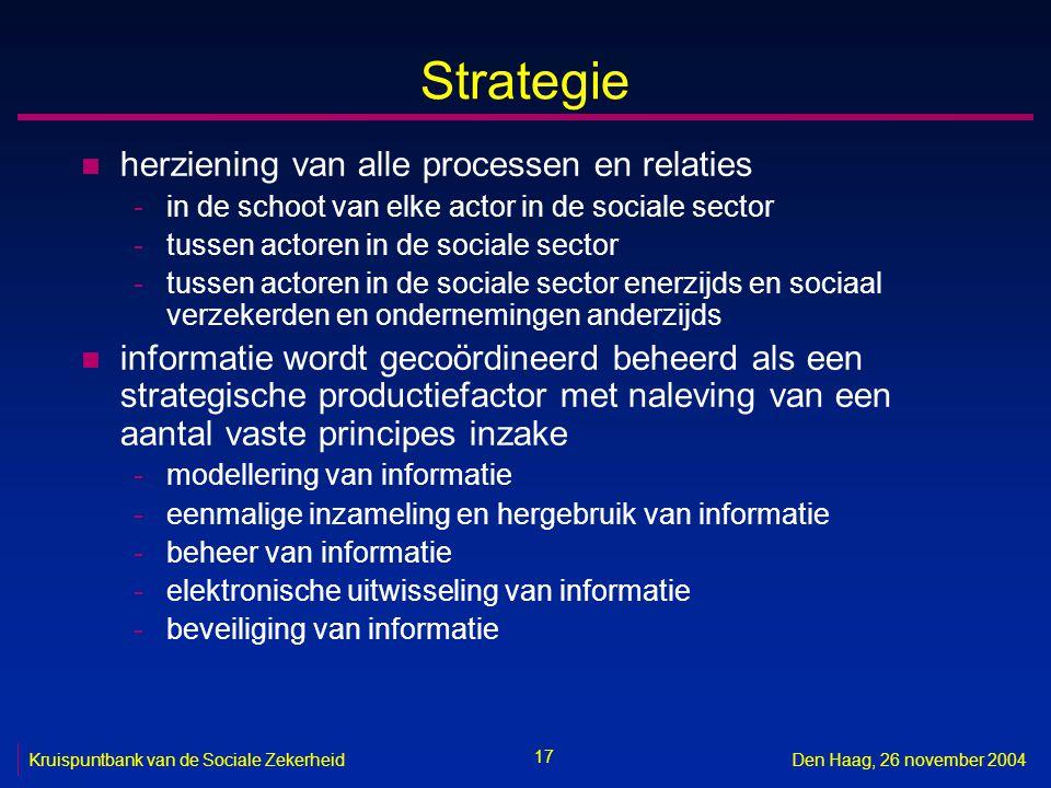 17 Kruispuntbank van de Sociale ZekerheidDen Haag, 26 november 2004 Strategie n herziening van alle processen en relaties -in de schoot van elke actor in de sociale sector -tussen actoren in de sociale sector -tussen actoren in de sociale sector enerzijds en sociaal verzekerden en ondernemingen anderzijds n informatie wordt gecoördineerd beheerd als een strategische productiefactor met naleving van een aantal vaste principes inzake -modellering van informatie -eenmalige inzameling en hergebruik van informatie -beheer van informatie -elektronische uitwisseling van informatie -beveiliging van informatie