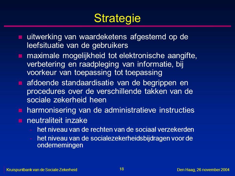 18 Kruispuntbank van de Sociale ZekerheidDen Haag, 26 november 2004 Strategie n uitwerking van waardeketens afgestemd op de leefsituatie van de gebruikers n maximale mogelijkheid tot elektronische aangifte, verbetering en raadpleging van informatie, bij voorkeur van toepassing tot toepassing n afdoende standaardisatie van de begrippen en procedures over de verschillende takken van de sociale zekerheid heen n harmonisering van de administratieve instructies n neutraliteit inzake -het niveau van de rechten van de sociaal verzekerden -het niveau van de socialezekerheidsbijdragen voor de ondernemingen