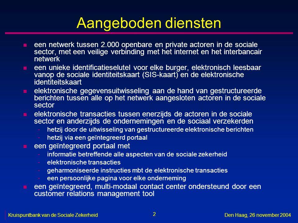 2 Den Haag, 26 november 2004 Aangeboden diensten n een netwerk tussen 2.000 openbare en private actoren in de sociale sector, met een veilige verbinding met het internet en het interbancair netwerk n een unieke identificatieselutel voor elke burger, elektronisch leesbaar vanop de sociale identiteitskaart (SIS-kaart) en de elektronische identiteitskaart n elektronische gegevensuitwisseling aan de hand van gestructureerde berichten tussen alle op het netwerk aangesloten actoren in de sociale sector n elektronische transacties tussen enerzijds de actoren in de sociale sector en anderzijds de ondernemingen en de sociaal verzekerden -hetzij door de uitwisseling van gestructureerde elektronische berichten -hetzij via een geïntegreerd portaal n een geïntegreerd portaal met -informatie betreffende alle aspecten van de sociale zekerheid -elektronische transacties -geharmoniseerde instructies mbt de elektronische transacties -een persoonlijke pagina voor elke onderneming n een geïntegreerd, multi-modaal contact center ondersteund door een customer relations management tool