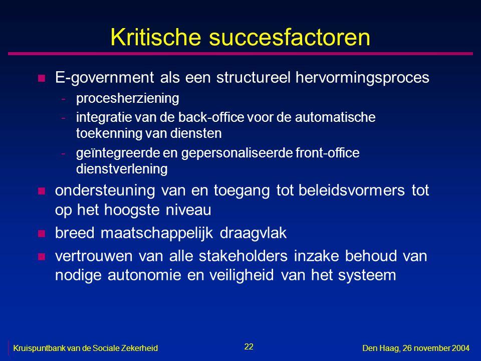 22 Kruispuntbank van de Sociale ZekerheidDen Haag, 26 november 2004 Kritische succesfactoren n E-government als een structureel hervormingsproces -pro
