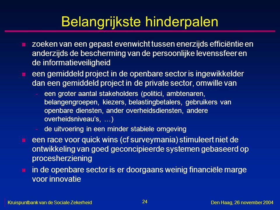 24 Kruispuntbank van de Sociale ZekerheidDen Haag, 26 november 2004 Belangrijkste hinderpalen n zoeken van een gepast evenwicht tussen enerzijds efficiëntie en anderzijds de bescherming van de persoonlijke levenssfeer en de informatieveiligheid n een gemiddeld project in de openbare sector is ingewikkelder dan een gemiddeld project in de private sector, omwille van -een groter aantal stakeholders (politici, ambtenaren, belangengroepen, kiezers, belastingbetalers, gebruikers van openbare diensten, ander overheidsdiensten, andere overheidsniveau's, …) -de uitvoering in een minder stabiele omgeving n een race voor quick wins (cf surveymania) stimuleert niet de ontwikkeling van goed geconcipieerde systemen gebaseerd op procesherziening n in de openbare sector is er doorgaans weinig financiële marge voor innovatie