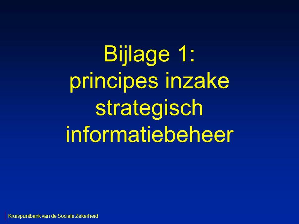 Bijlage 1: principes inzake strategisch informatiebeheer Kruispuntbank van de Sociale Zekerheid