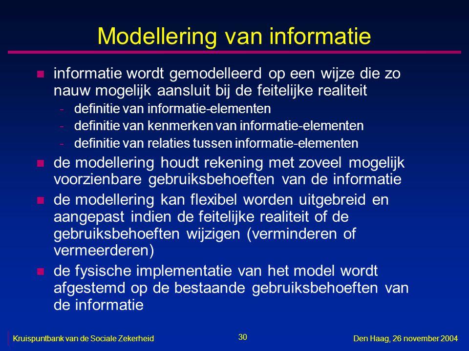 30 Kruispuntbank van de Sociale ZekerheidDen Haag, 26 november 2004 Modellering van informatie n informatie wordt gemodelleerd op een wijze die zo nauw mogelijk aansluit bij de feitelijke realiteit -definitie van informatie-elementen -definitie van kenmerken van informatie-elementen -definitie van relaties tussen informatie-elementen n de modellering houdt rekening met zoveel mogelijk voorzienbare gebruiksbehoeften van de informatie n de modellering kan flexibel worden uitgebreid en aangepast indien de feitelijke realiteit of de gebruiksbehoeften wijzigen (verminderen of vermeerderen) n de fysische implementatie van het model wordt afgestemd op de bestaande gebruiksbehoeften van de informatie