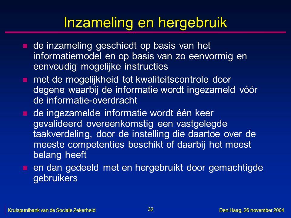 32 Kruispuntbank van de Sociale ZekerheidDen Haag, 26 november 2004 Inzameling en hergebruik n de inzameling geschiedt op basis van het informatiemode