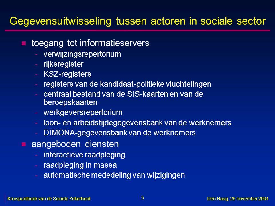 5 Kruispuntbank van de Sociale ZekerheidDen Haag, 26 november 2004 Gegevensuitwisseling tussen actoren in sociale sector n toegang tot informatieserve