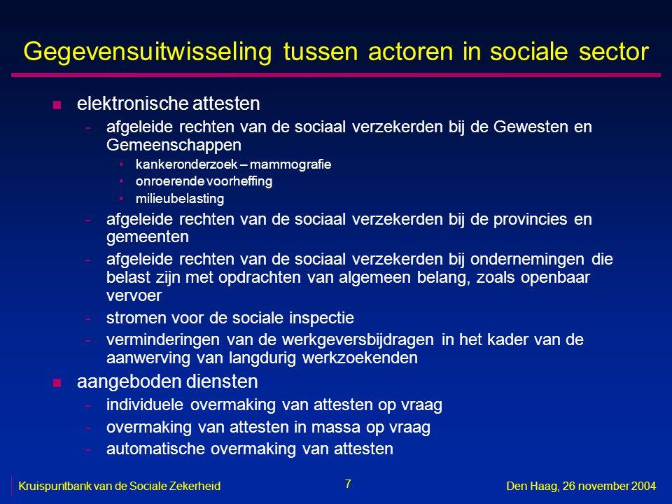7 Kruispuntbank van de Sociale ZekerheidDen Haag, 26 november 2004 Gegevensuitwisseling tussen actoren in sociale sector n elektronische attesten -afg