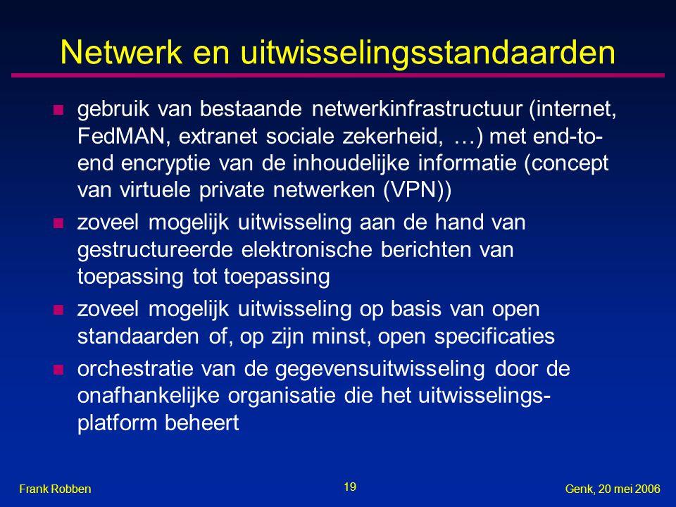 19 Genk, 20 mei 2006Frank Robben Netwerk en uitwisselingsstandaarden n gebruik van bestaande netwerkinfrastructuur (internet, FedMAN, extranet sociale zekerheid, …) met end-to- end encryptie van de inhoudelijke informatie (concept van virtuele private netwerken (VPN)) n zoveel mogelijk uitwisseling aan de hand van gestructureerde elektronische berichten van toepassing tot toepassing n zoveel mogelijk uitwisseling op basis van open standaarden of, op zijn minst, open specificaties n orchestratie van de gegevensuitwisseling door de onafhankelijke organisatie die het uitwisselings- platform beheert