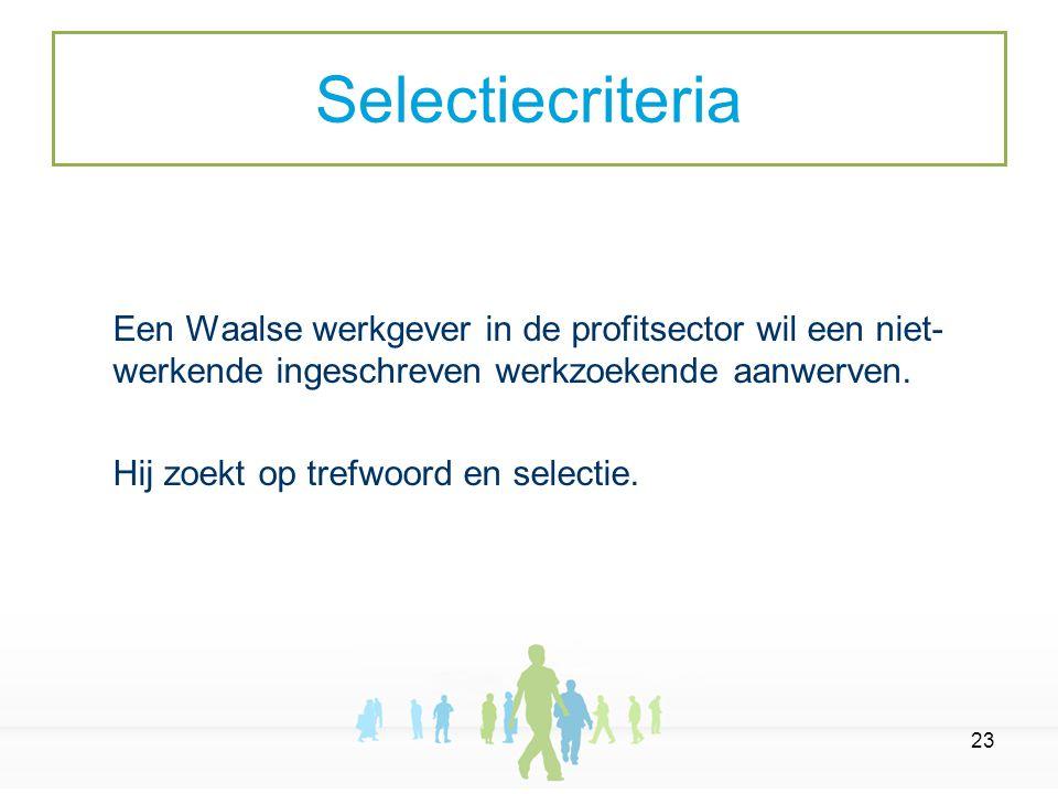 23 Een Waalse werkgever in de profitsector wil een niet- werkende ingeschreven werkzoekende aanwerven.