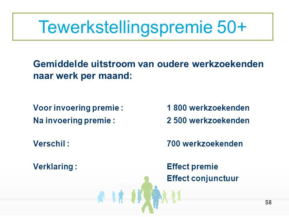 58 Gemiddelde uitstroom van oudere werkzoekenden naar werk per maand: Voor invoering premie : 1 800 werkzoekenden Na invoering premie : 2 500 werkzoekenden Verschil :700 werkzoekenden Verklaring : Effect premie Effect conjunctuur Tewerkstellingspremie 50+