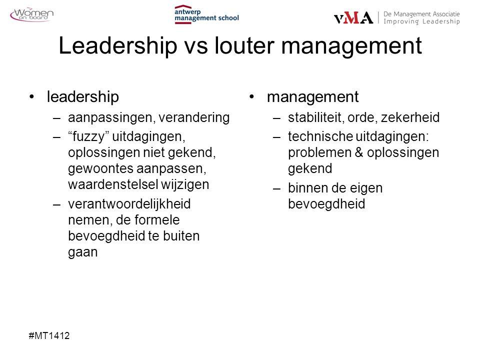Leadership vs louter management leadership –aanpassingen, verandering – fuzzy uitdagingen, oplossingen niet gekend, gewoontes aanpassen, waardenstelsel wijzigen –verantwoordelijkheid nemen, de formele bevoegdheid te buiten gaan management –stabiliteit, orde, zekerheid –technische uitdagingen: problemen & oplossingen gekend –binnen de eigen bevoegdheid #MT1412
