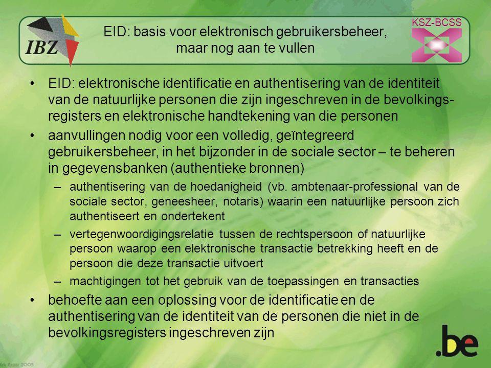 KSZ-BCSS EID: basis voor elektronisch gebruikersbeheer, maar nog aan te vullen EID: elektronische identificatie en authentisering van de identiteit van de natuurlijke personen die zijn ingeschreven in de bevolkings- registers en elektronische handtekening van die personen aanvullingen nodig voor een volledig, geïntegreerd gebruikersbeheer, in het bijzonder in de sociale sector – te beheren in gegevensbanken (authentieke bronnen) –authentisering van de hoedanigheid (vb.