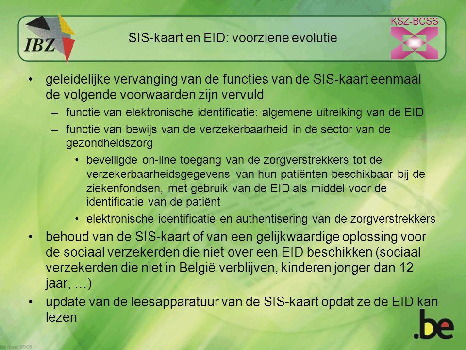KSZ-BCSS SIS-kaart en EID: voorziene evolutie geleidelijke vervanging van de functies van de SIS-kaart eenmaal de volgende voorwaarden zijn vervuld –functie van elektronische identificatie: algemene uitreiking van de EID –functie van bewijs van de verzekerbaarheid in de sector van de gezondheidszorg beveiligde on-line toegang van de zorgverstrekkers tot de verzekerbaarheidsgegevens van hun patiënten beschikbaar bij de ziekenfondsen, met gebruik van de EID als middel voor de identificatie van de patiënt elektronische identificatie en authentisering van de zorgverstrekkers behoud van de SIS-kaart of van een gelijkwaardige oplossing voor de sociaal verzekerden die niet over een EID beschikken (sociaal verzekerden die niet in België verblijven, kinderen jonger dan 12 jaar, …) update van de leesapparatuur van de SIS-kaart opdat ze de EID kan lezen