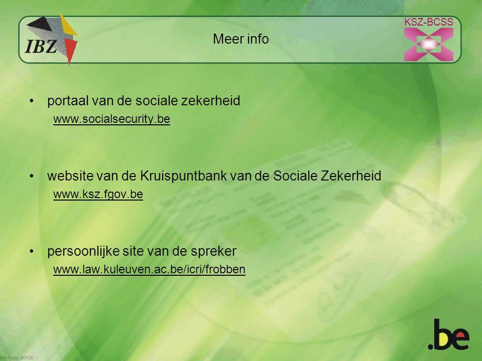 KSZ-BCSS Meer info portaal van de sociale zekerheid www.socialsecurity.be website van de Kruispuntbank van de Sociale Zekerheid www.ksz.fgov.be persoonlijke site van de spreker www.law.kuleuven.ac.be/icri/frobben